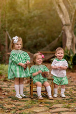 """Sophie"" Girls Green Smocked Dress Fall18"