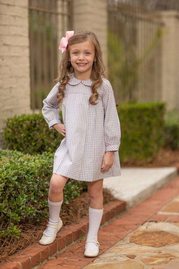"""Kaitlin"" Grey Windowpane with Pink Piping Dress, Girls Fall18 Fave"