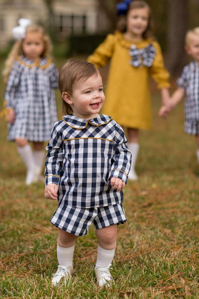 """Jencey"" Mustard Navy Smocked with 2 interchangeable Bows Dress, Girls Fall18 Fave"