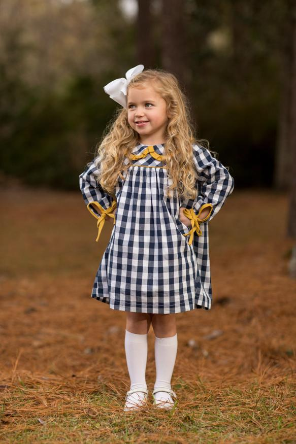 Blayke Navy Buffalo Check Dress, Girls Fall18 Fave