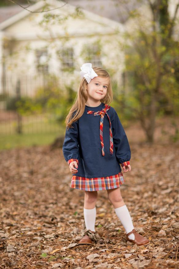 """Lacee"" Navy Pique with Red Check Bow Dress, Girls Fall18 Fave"