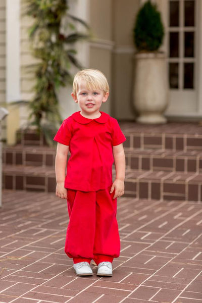 """Curt"" Red Cord Pant Set, Boys Christmas"