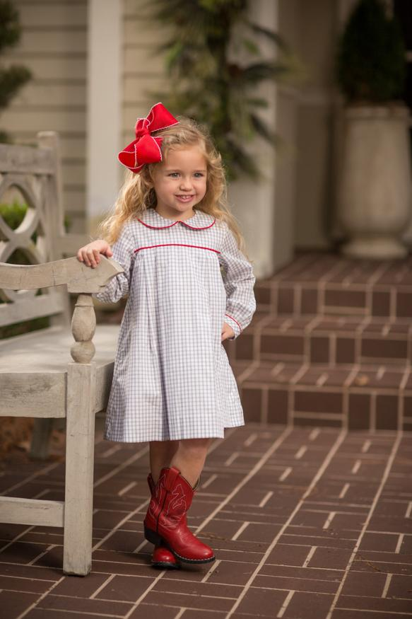 """Kaitlin"" Grey Check with Red Piping Dress, Girls Fall18 Fave"