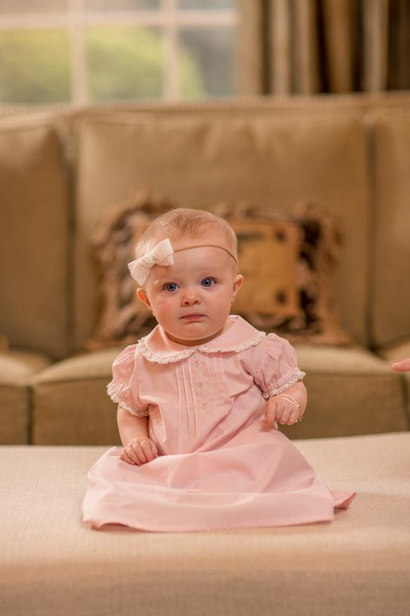 Pink layette gown