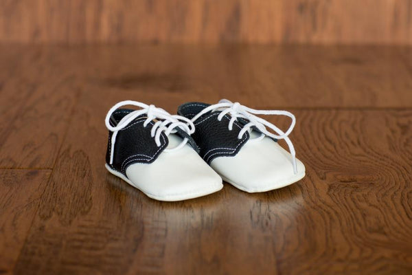 White/Black Oxford Leather Crib Shoes (Soft Sole) - Made in USA