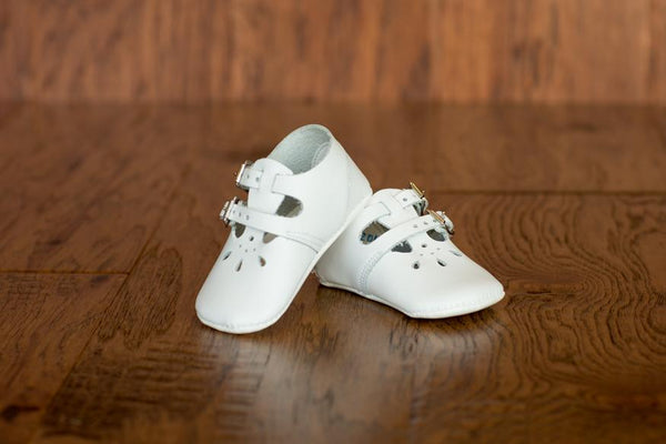 Leather Double Buckle Crib Shoes in White (Soft Sole) - Made in USA