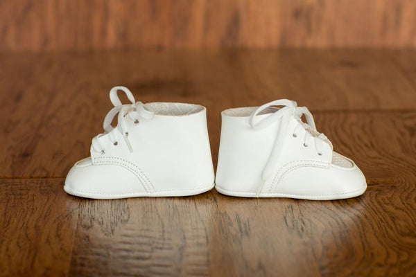 Leather High Top Crib Shoes (Soft Sole) - Made in USA
