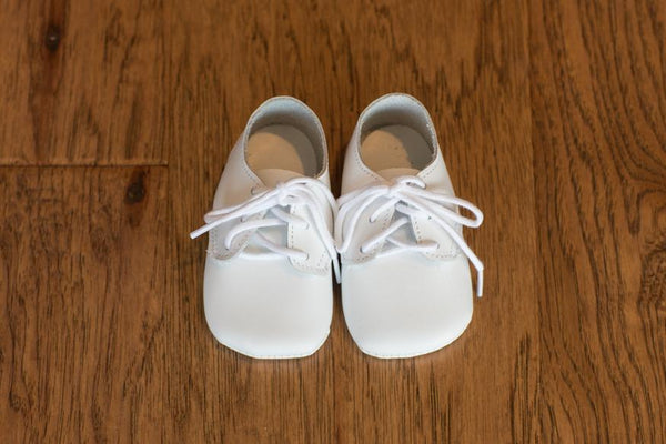 White Leather Crib Shoes (Soft Sole) - Made in USA