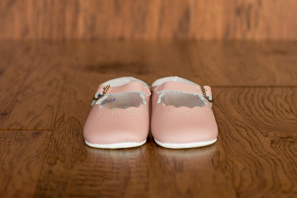 Leather Scallop Crib Shoes in Pink (Soft Sole) - Made in USA