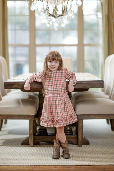 Shannon Dusty Rose/Brown Plaid Dress