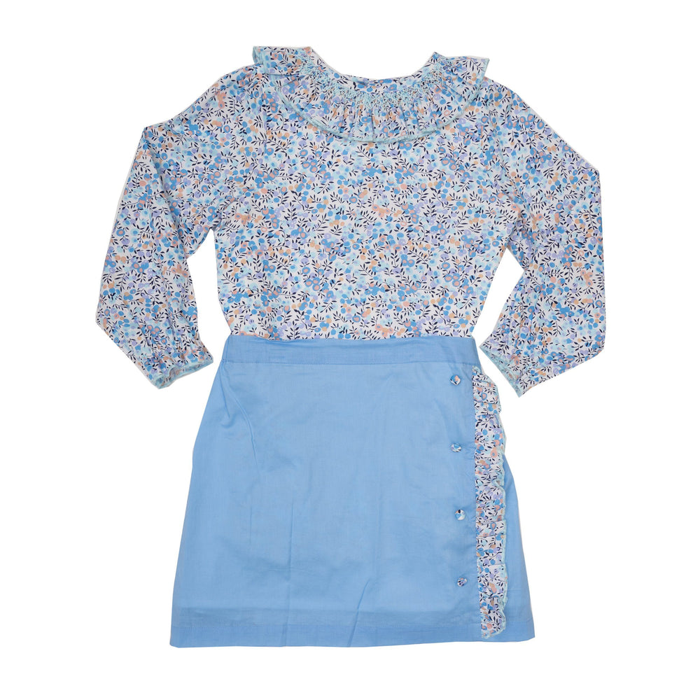 Kelsey Blue Floral Shirt with Skirt