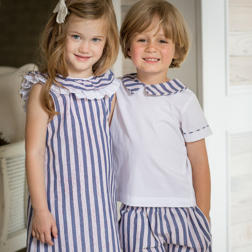 """Shea Navy Red White Stripe Dress"""