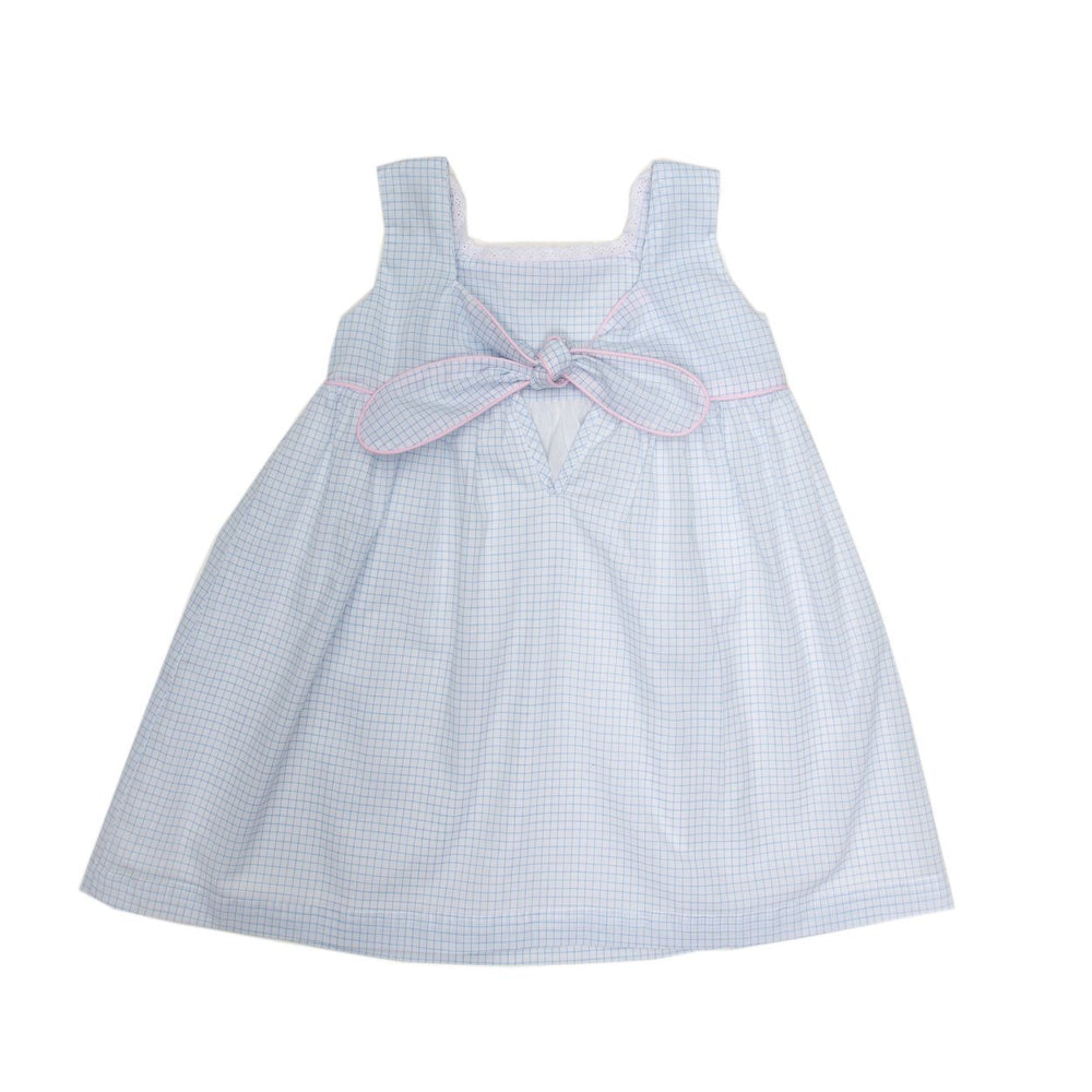 Magnolia Blue with Pink Windowpane Dress