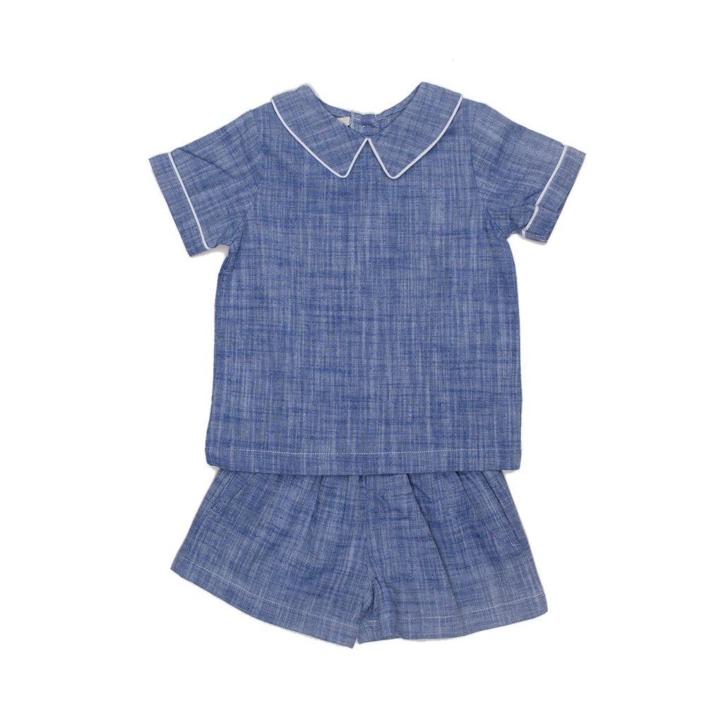 Mateo Brushed Blue Short Set