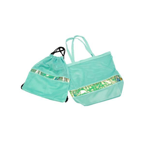 Aqua and Gold Beach Tote