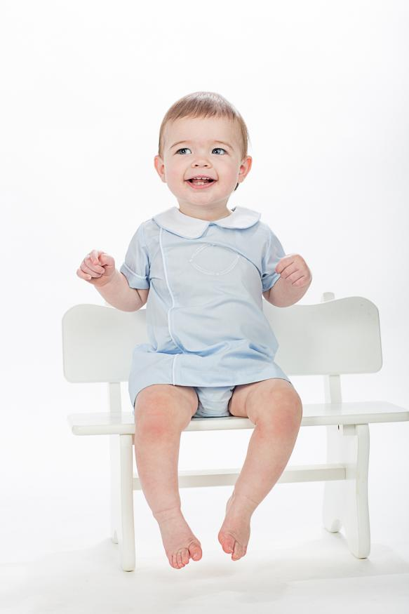 """John Rhett"" Boys Blue Diaper Set-"