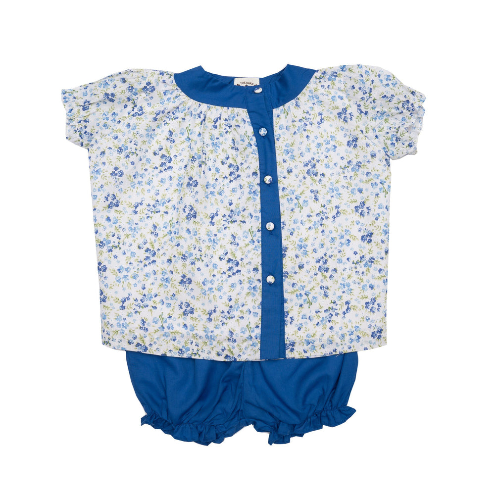 Evelyn Blue Floral Romper Set