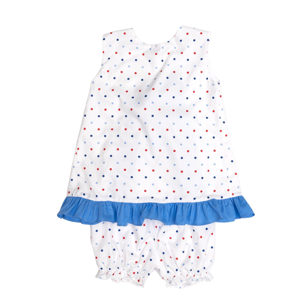 Blakely White/Blue Dots Bloomer Set