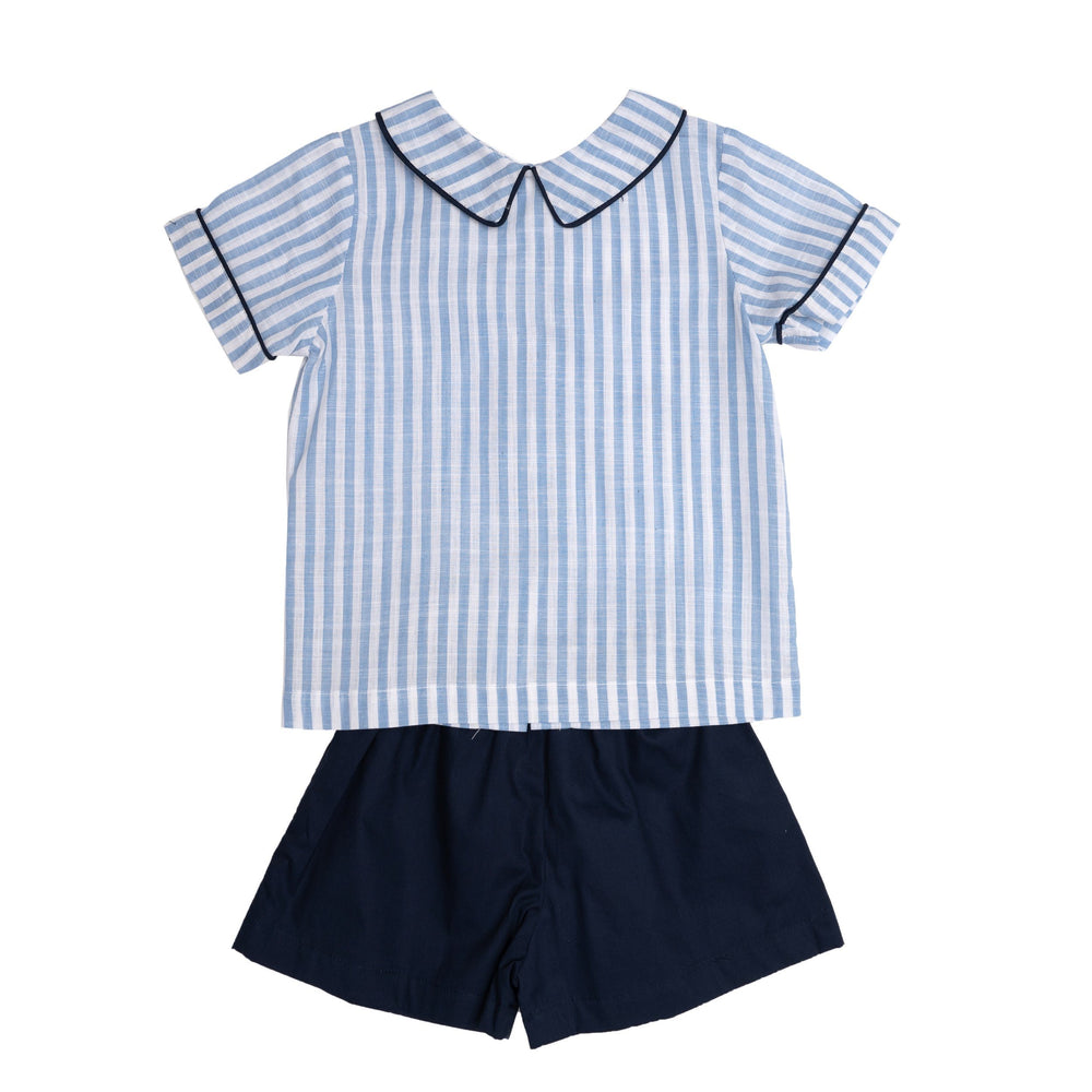 Nathan Blue Striped Short Set
