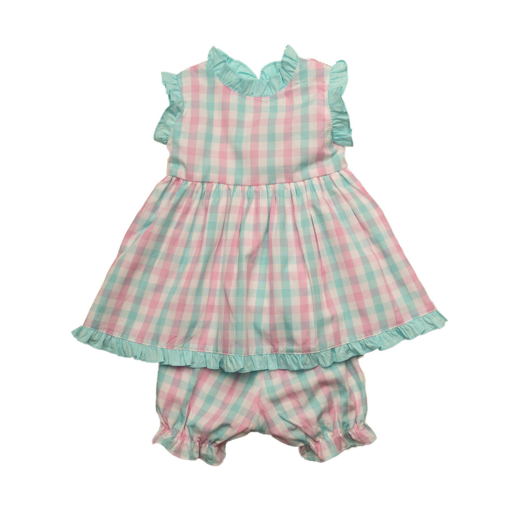 """Reagan Aqua Pink Bloomer Set"""