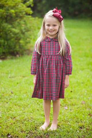 Layla Girls Dress in Red Plaid 1(Christmas)