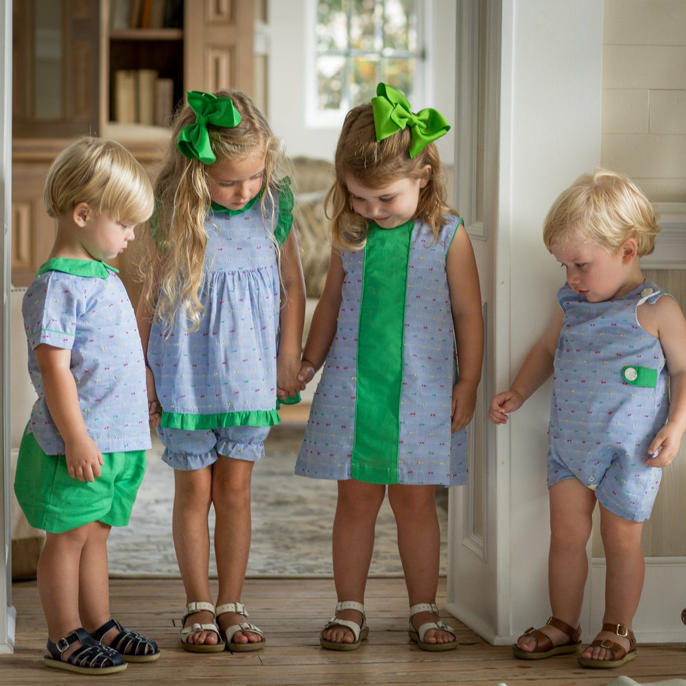 """Reagan Green Chambray Short Set"""