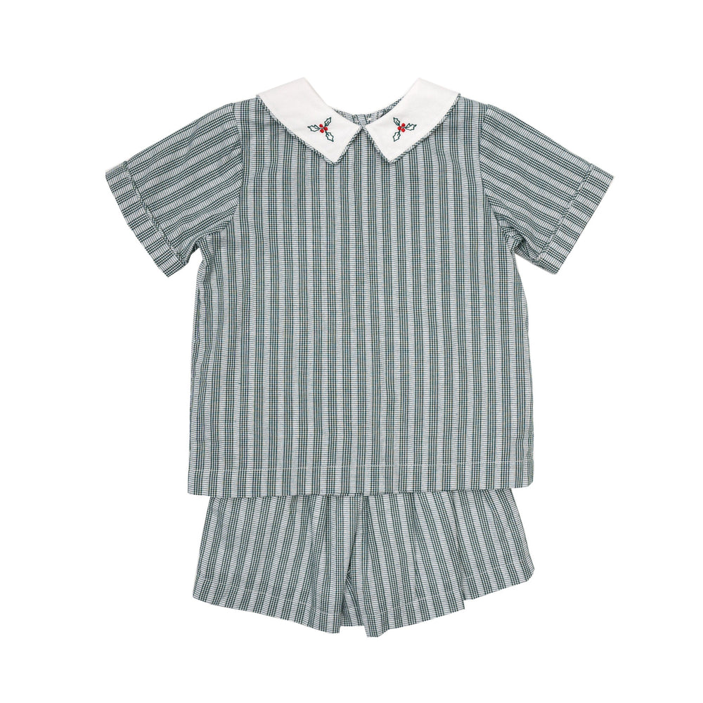 Reid Hunter Green Striped Short Set