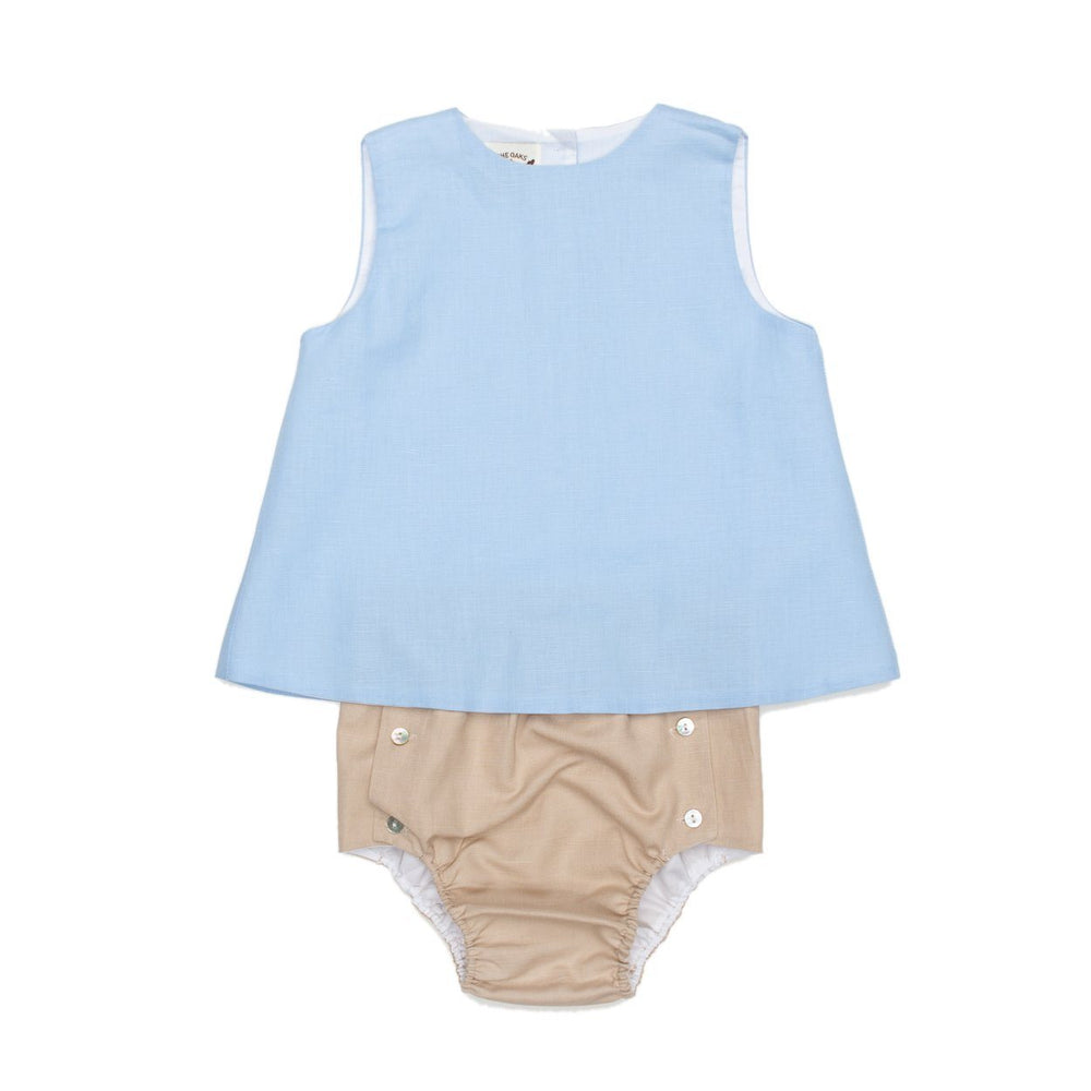 Rex Tan and Blue Sunsuit
