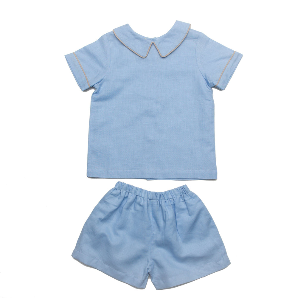 Santiago Blue with Tan Short Set
