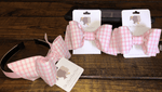 The Bow Next Door Pink Windowpane Custom Bows