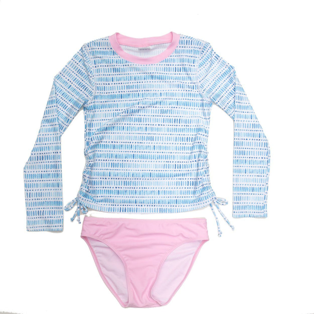 Watercolor Two Piece Long Sleeve Rash-guard Swimsuit
