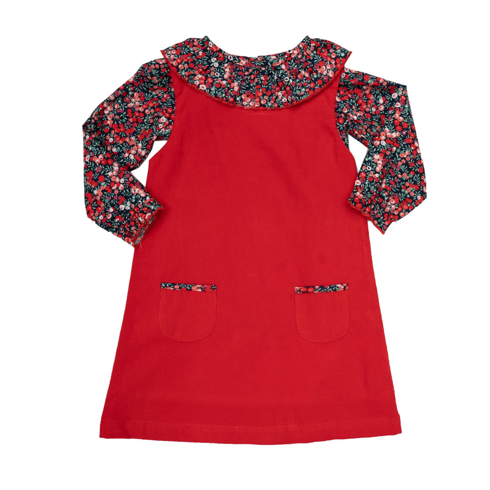 Willow Floral Shirt with Red Dress