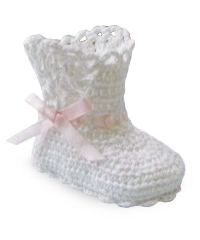 Jefferies White Crochet High Bootie with Pink Ribbon