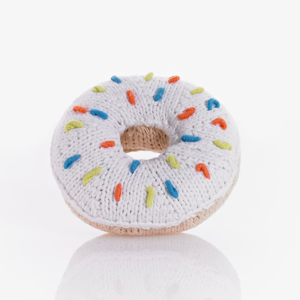 White Crochet Donut Rattle