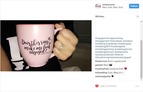 Does this ring make me look engaged? Engagement Gift - 14oz Pink Coffee Mug - Engaged Mug