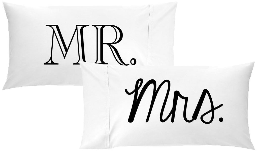 Mr Mrs Couples Mixed Font Pillowcases
