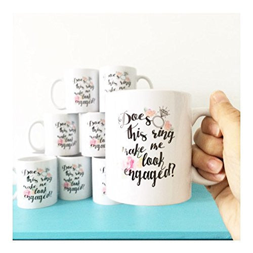 "Engagement Coffee Mug Set ""Does this ring make me look engaged?"" and ""I put a ring on it"" 2 11oz Mugs In White Gift Boxes"