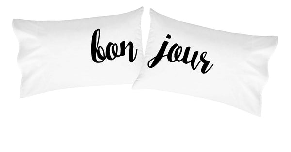 Bonjour Pillowcases Cursive Font - Set of 2 - Fits Standard/Queen Pillows