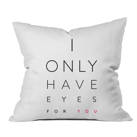 I Only Have Eyes For You Black Pink Font 18x18 Inch Throw Pillow Cover - Couples Gifts For Her - Wedding Decoration - Anniversary Gift Birthday Present