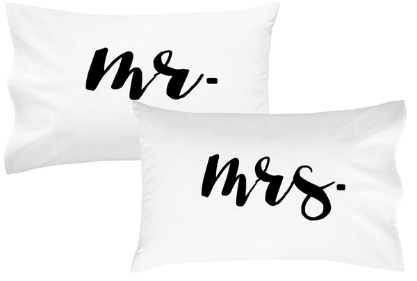 Mr Mrs Couples Pillowcases Script Font