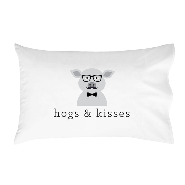 Hogs & Kisses Pillowcase (One 20x30 Standard/Queen Size Pillow Case) Kids Room Decor