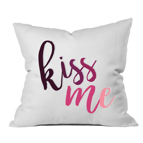 Kiss Me Black Pink Font 18x18 Inch Throw Pillow Cover - Couples Gifts For Her - Wedding Decoration - Anniversary Gift Birthday Present Missing You Gifts