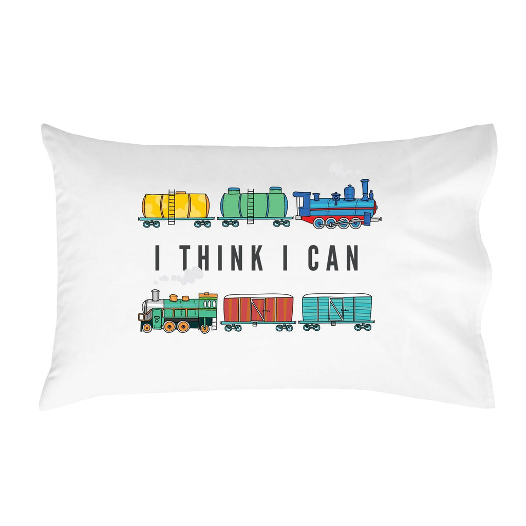 I Think I Can Pillowcase (One 20x30 Standard/Queen Size Pillow Case) Kids Room Decor Train Pillowcase