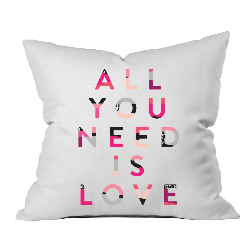 "All You Need Is Love 18x18"" Throw Pillow Cover - Couples Gifts For Her - Wedding Decoration - Anniversary Gift Birthday Present Missing You Gifts"