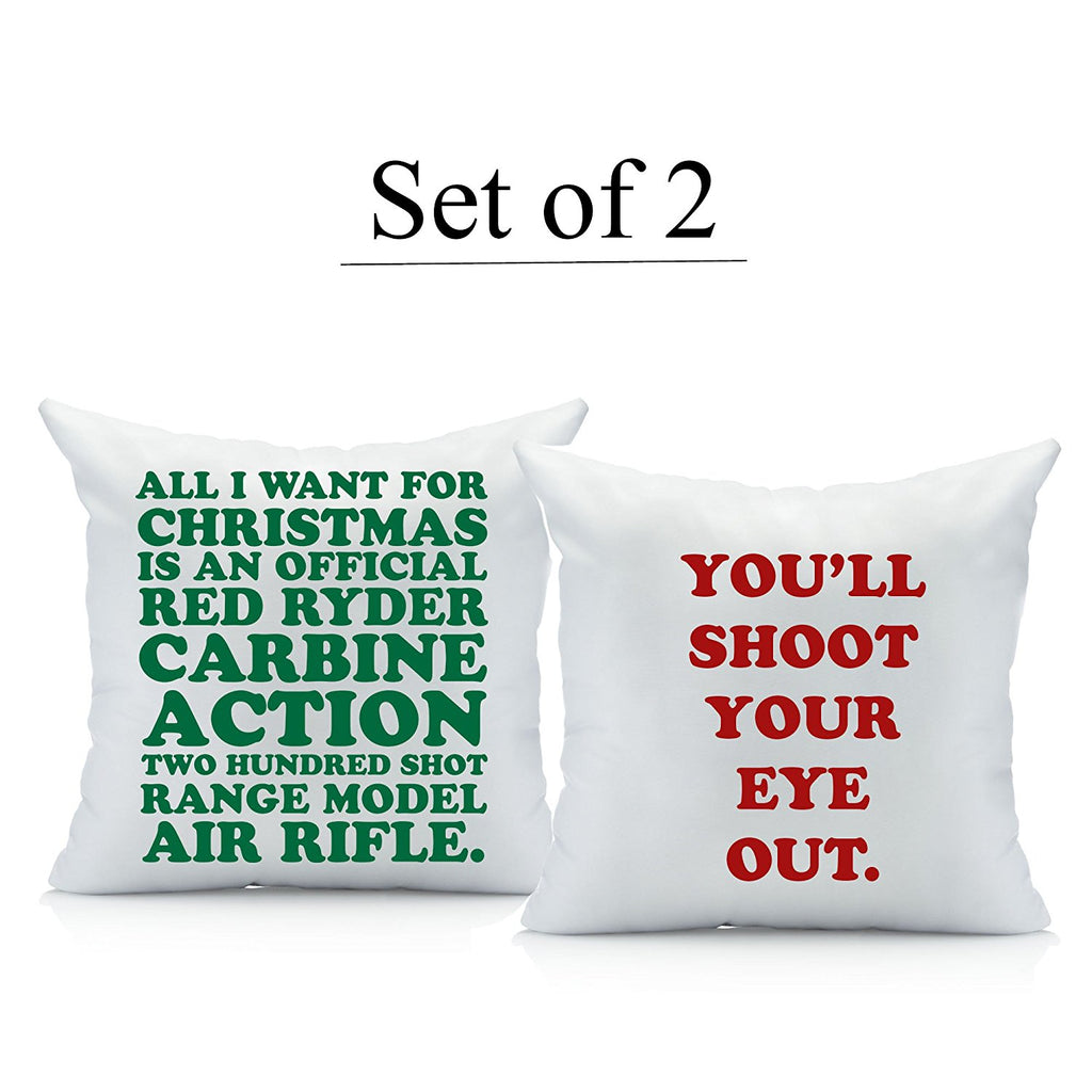 christmas story throw pillow cover set two 18 by 18 inch pillow cover a
