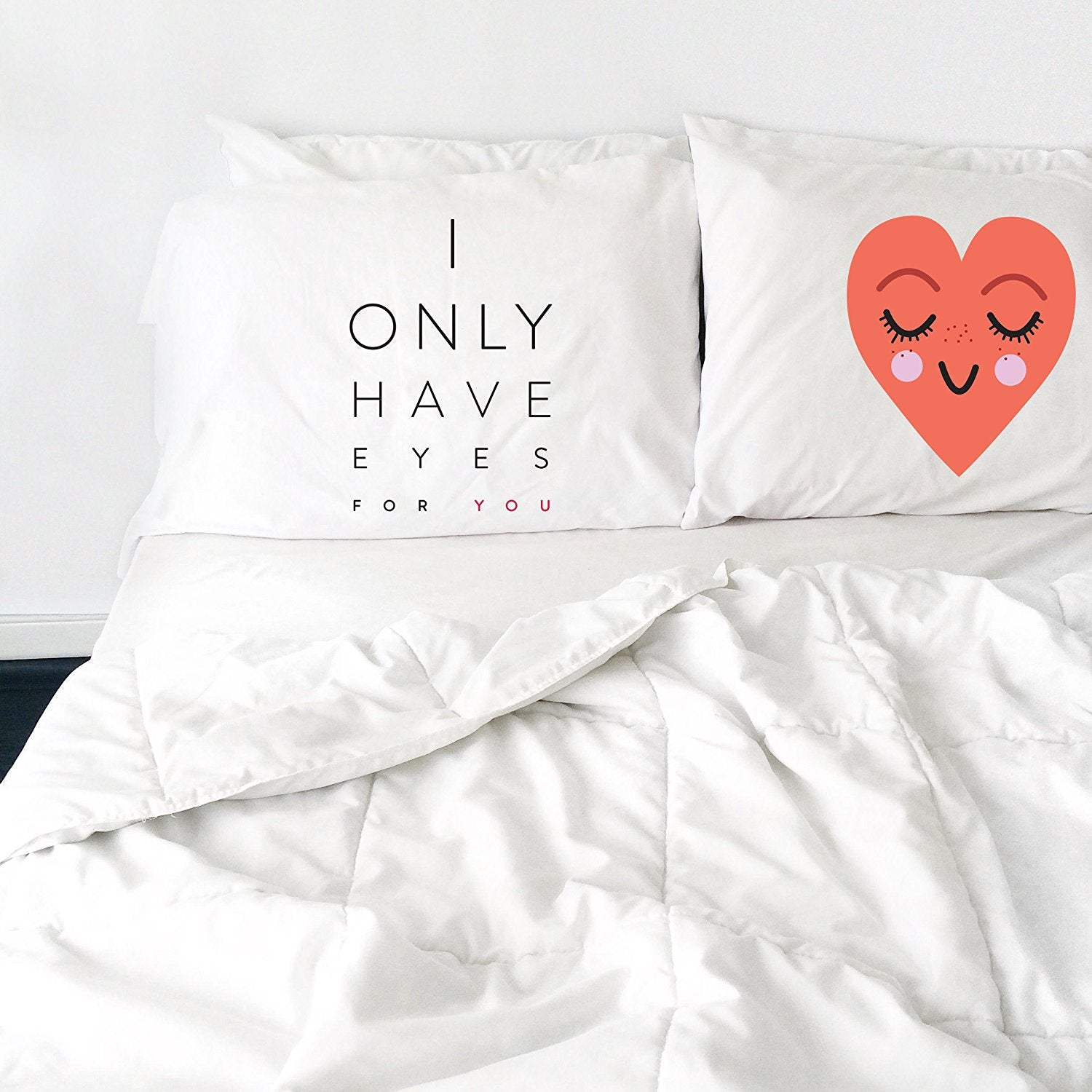 I Only Have Eyes For You Heart Pillowcase Set (Two 20x30 Standard Pillow Case) Couples Gifts For Her - Wedding Decoration - Anniversary Gift Birthday Present