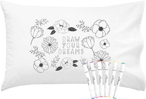 "Colorable ""Draw Your Dreams"" Pillow Cover With Markers"