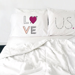 LOVE US Pillowcase Set (Two 20x30 Standard Pillow Case) Couples Gifts For Her - Wedding Decoration - Anniversary Gift Birthday Present Engagement