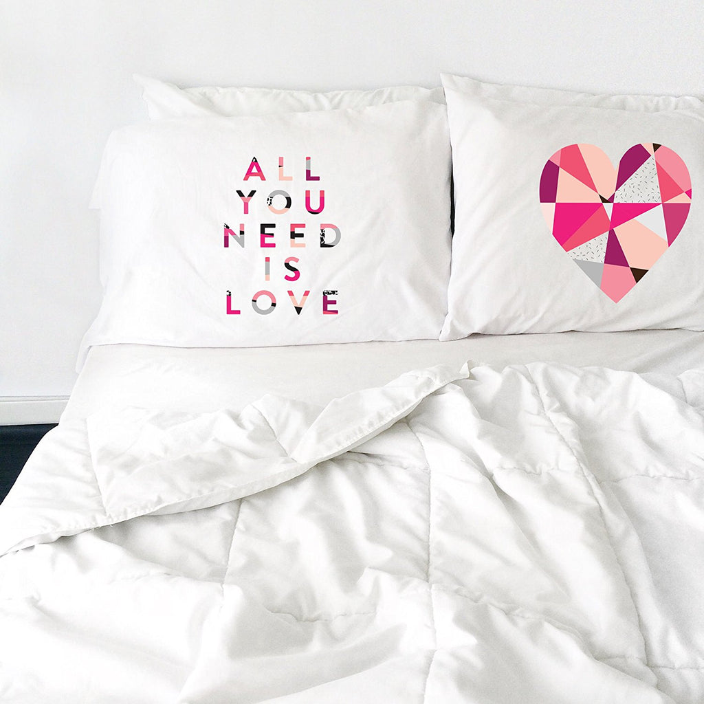 All You Need Is Love Heart Pillowcase Set (Two 20x30 Standard Pillow ...