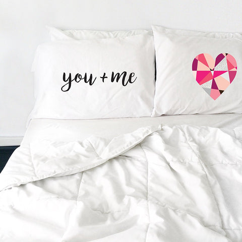 You Plus Me Equals Heart Pillowcase Set (Two 20x30 Standard Pillow Case) Couples Gifts For Her - Wedding Decoration - Anniversary Gift Birthday Present